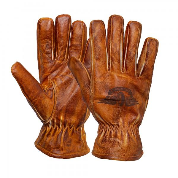 KING KEROSIN Herren Biker-Handschuhe mit Logodruck auf dem Handrücken