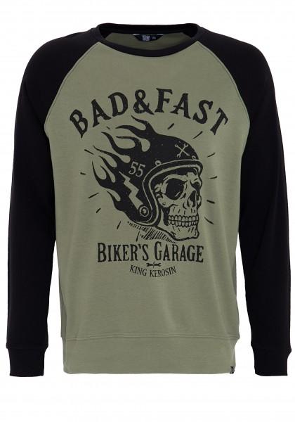 KIng Kerosin Raglan Sweater mit coolem Front Druck Bad & Fast