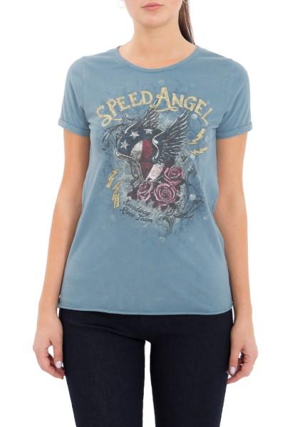 QUEEN KEROSIN Shirt mit Frontmotiv und Waschung