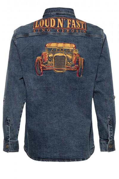 Denim Workwear Hemd mit Waschungen und Stickerei