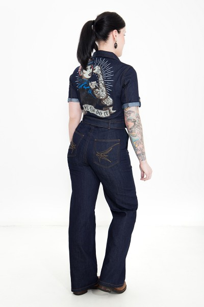 QUEEN KEROSIN Denim Overall mit 50´s Print