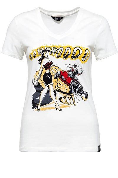QUEEN KEROSIN T-Shirt mit Frontprint und V-Ausschnitt Oowwwoooo