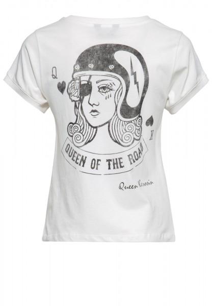 Wide Fit T-Shirt mit Backprint und Stickerei »Playcard Queen«