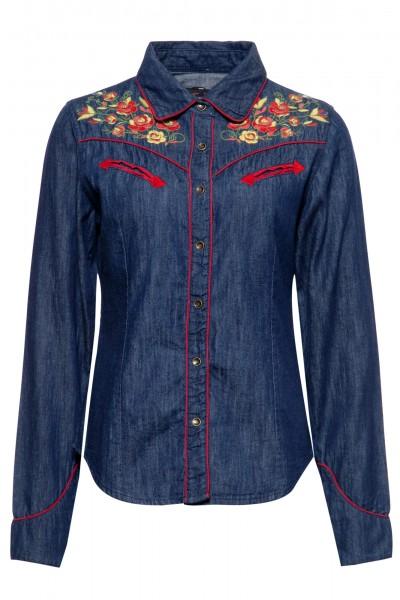 Denim-Bluse im Western-Style