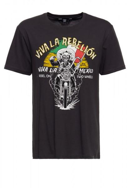 Basic T-Shirt aus Baumwolle mit Print »Viva la rebelion«