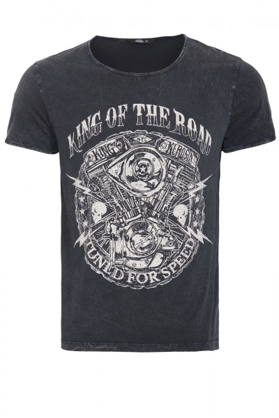KING KEROSIN T-Shirt im Used-Look mit Print King of the road