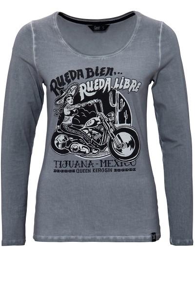QUEEN KEROSIN Longsleeve Shirt mit Frontprint und Oilwash-Effekten Rueda libre