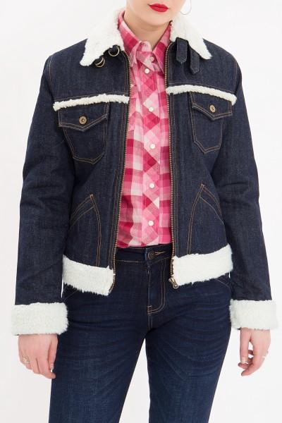 QUEEN KEROSIN Jeansjacke mit Teddyfell Kragen und Futter