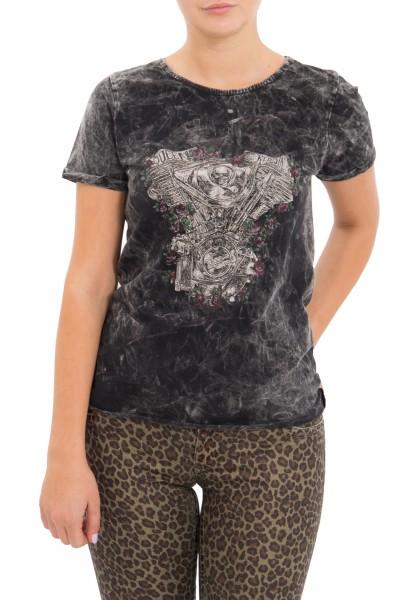 QUEEN KEROSIN Shirt mit Druck und Ärmelaufschlag