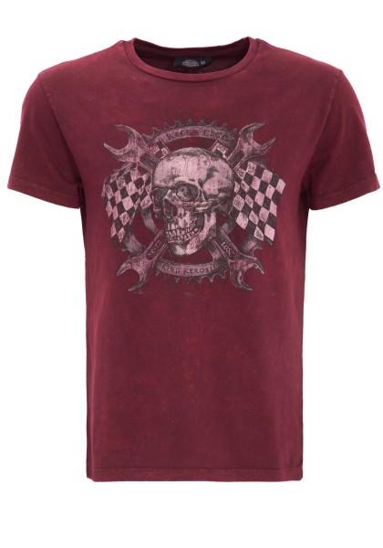 KING KEROSIN Rundhalsshirt mit Skull Racer Druck