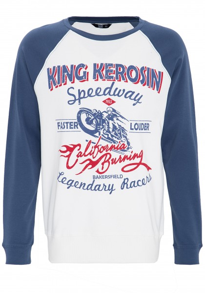 King Kerosin Raglansweater 2-farbig mit Front Print Speedway