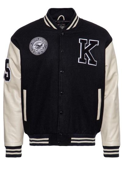 KING KEROSIN Hochwertige College Jacke aus Wolle und Leder