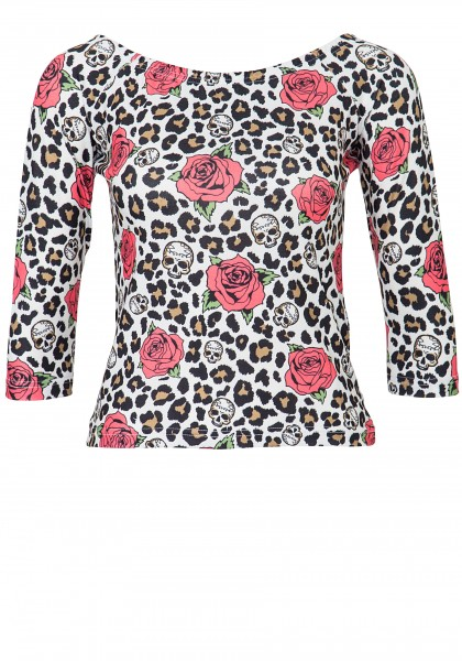 QUEEN KEROSIN Cropped Shirt mit Alloverprint Leo & Roses