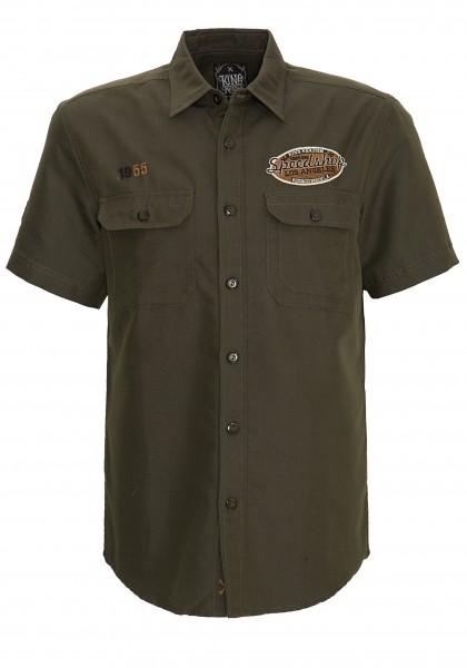 King Kerosin Worker-Hemd mit Front- und Rückenstickerei Hot Rod