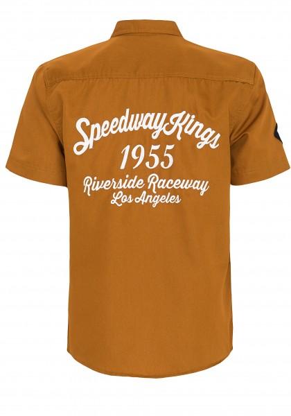 King Kerosin Kurzarmhemd mit Rückenstickerei Speedway Kings