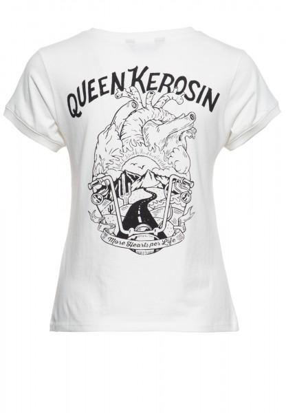 Wide Fit T-Shirt mit Print auf der Brut und im Rücken »More hearts per life«