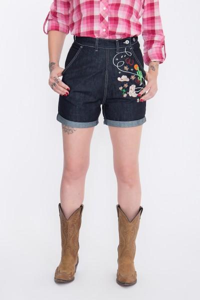 QUEEN KEROSIN Jeansshorts mit Stickereien im Western-Look