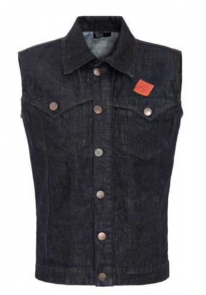 KING KEROSIN Jeans Weste mit Brusttaschen und Lederpatch