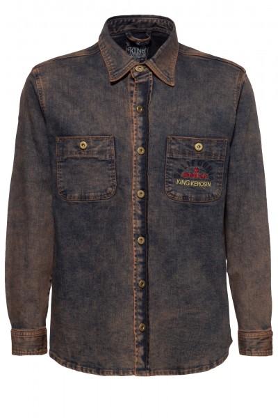 Denim Workwear Hemd mit Tint Wash und Stickerei