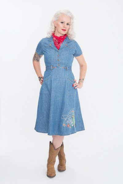 QUEEN KEROSIN Denim Kleid mit Western Stickereien