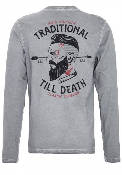 King Kerosin Langarmshirt im Used-Look mit Front-Stickerei und Rückenprint Traditional Till Death