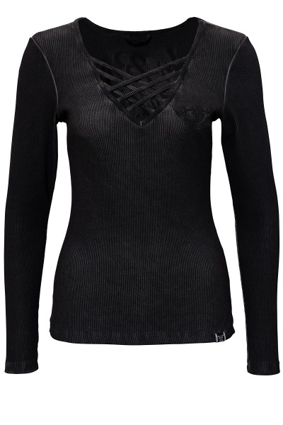 QUEEN KEROSIN Basic Longsleeve Shirt mit Print im Rücken und Front Stickerei My Route My Rules