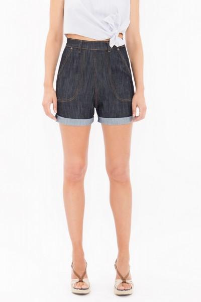 QUEEN KEROSIN High Waist Jeans Shorts mit seitlichem Reißverschluss