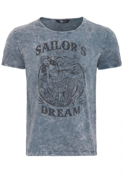 KING KEROSIN T-Shirt im Used-Look mit Print Sailor's Dream
