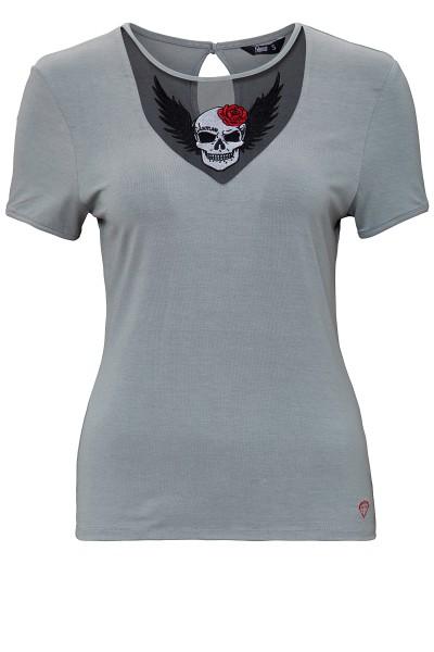 QUEEN KEROSIN T-Shirt mit Lace-Einsatz und Stickerei