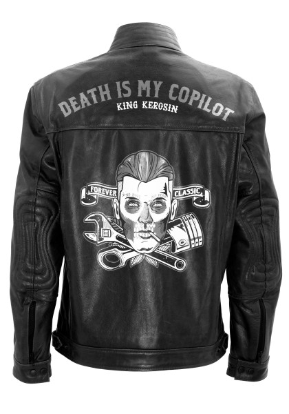 KING KEROSIN Lederjacke mit Vintage Druck Death is my Copilot
