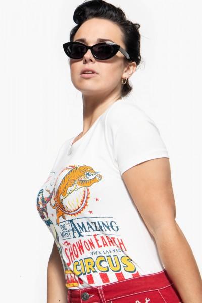 Slim Fit T-Shirt mit Zirkus-Print in Retro-Optik »Circus«