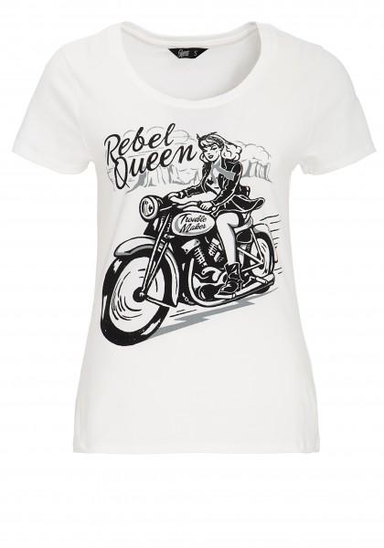 Queen Kerosin Kurzarm Shirt mit lässigem Biker-Druck Rebel Queen