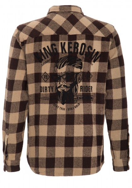 "KING KEROSIN Flanell Hemd mit ""Dirty Rider"" Stickerei hinten"