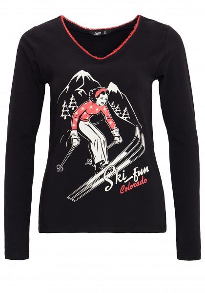 QUEEN KEROSIN Shirt mit V-Ausschnitt und Vintage Druck Ski Fun