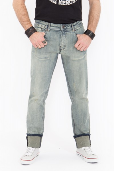 KING KEROSIN Slim Fit Jeans mit Brushing Wash