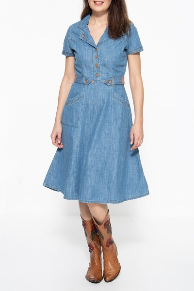 QUEEN KEROSIN Denim Kleid im Westernlook