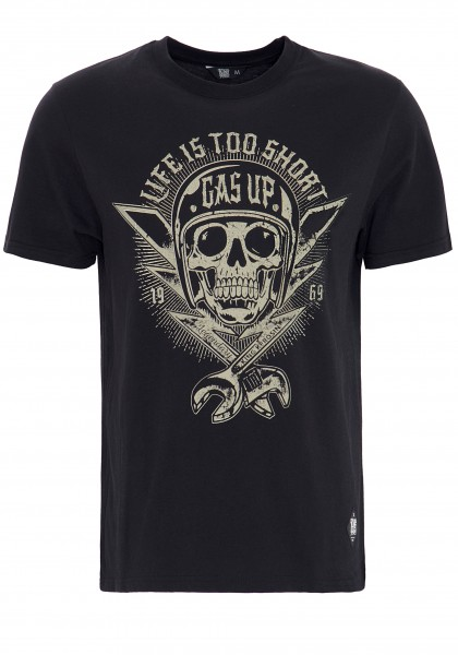 King Kerosin Print-Shirt mit Skull Print Life is too short