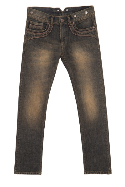 KING KEROSIN Slim Fit Jeans mit Lederpaspelierungen und Knöpfen für Hosenträger Robin