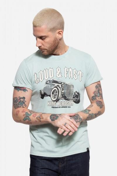Roll-Up T-Shirt Acid Wash mit Print »Loud & Fast«