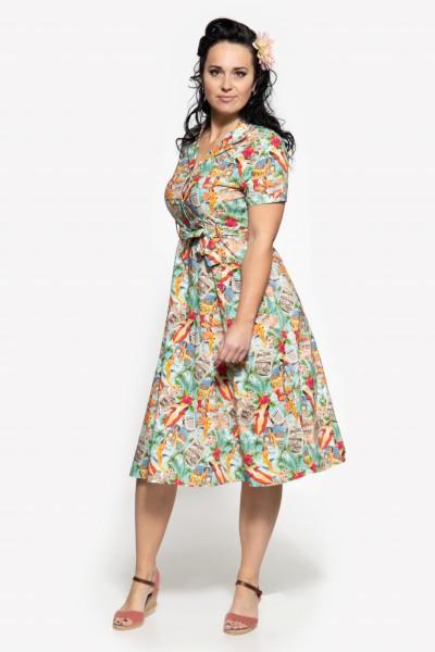 Sommerkleid mit Allover-Print im 50s-Look