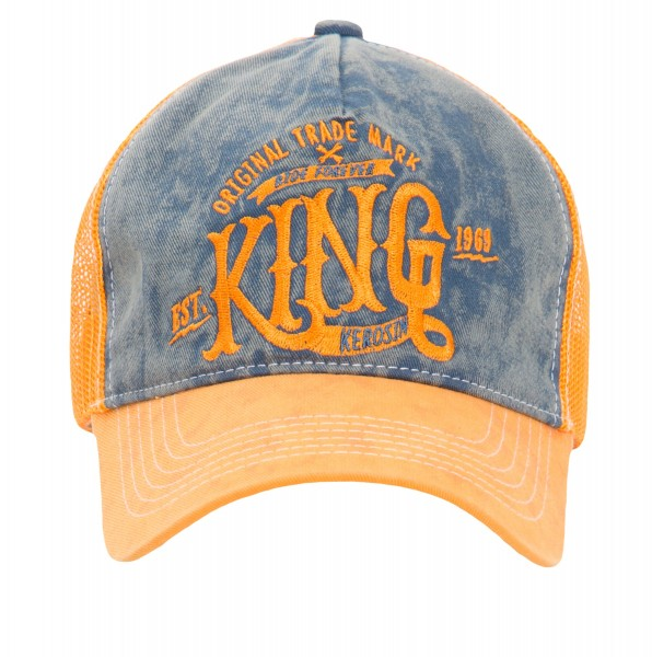KING KEROSIN Truckercap mit Denim Einsatz im Used Look