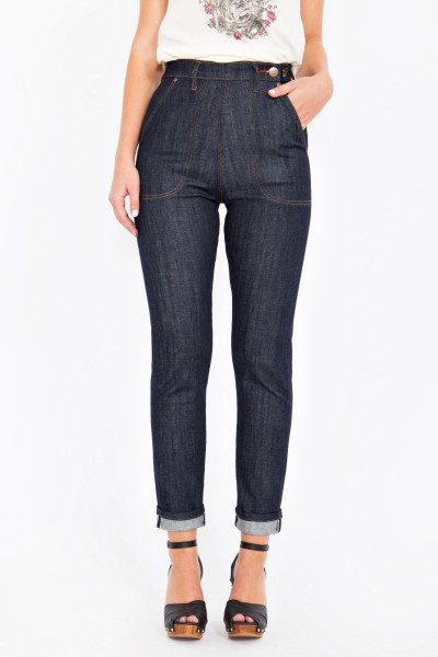 QUEEN KEROSIN Selvedge High Waist Jeans mit Stretch Red Selvedge