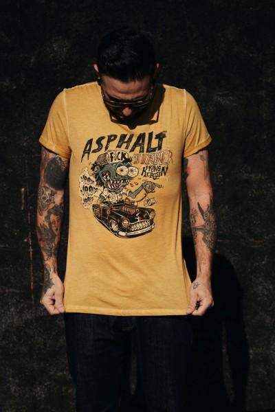 Roll-Up T-Shirt Oil Wash »Asphalt Monster«