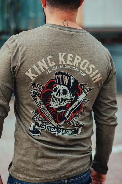 KING KEROSIN Longsleeve Shirt mit Prints und Oilwash-Effekten Ride Hard Live Fast