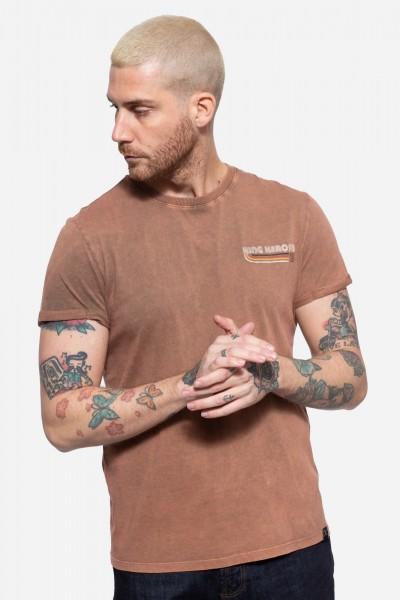 Roll-Up T-Shirt Acid Wash mit Backprint »Chopper until death«