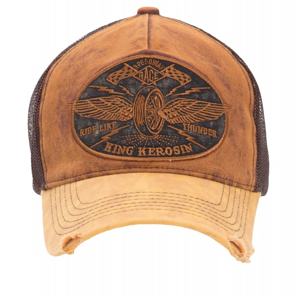 KING KEROSIN Trucker Denim Cap »Ride like Thunder« im Vintage Jeans Look mit Stickerei Ride like Thu