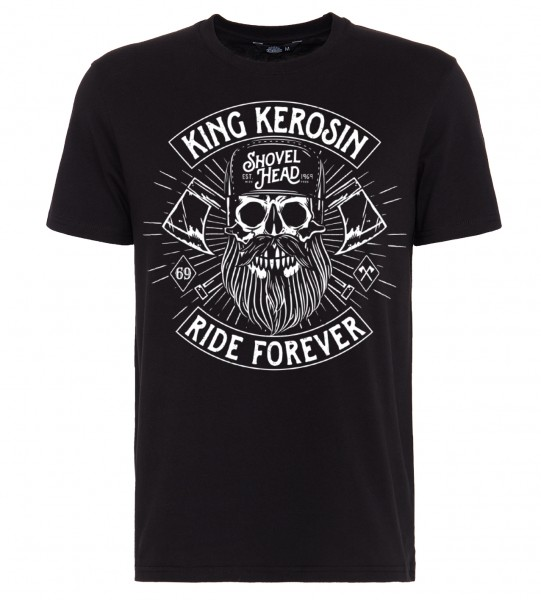 King Kerosin Shirt mit Frontmotiv in Skull-Optik Ride forever