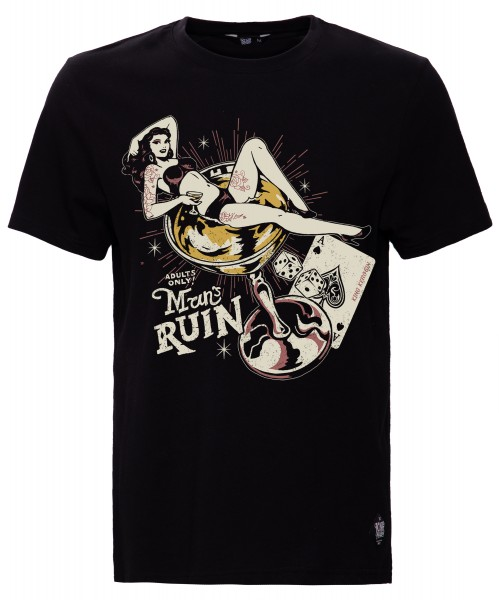KING KEROSIN Print T-Shirt mit Pin Up Motiv Man's Ruin