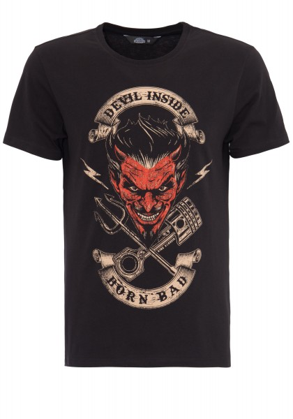 KING KEROSIN T-Shirt mit Front Print Devil Inside
