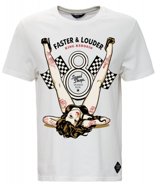 KING KEROSIN Print T-Shirt mit Front Print Faster & Louder